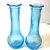 Vintage Randal  Vases Teal Blue Pressed  Glass Flower Bud Vases Matching Set Two