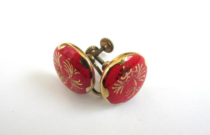 Vintage Round Button Chinese Red Gold Asian Flowers Cloisonne Screw Back