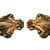 Vintage Matching Pair Art Nouveau Enameled Brass Stampings Detailed Flowers  For