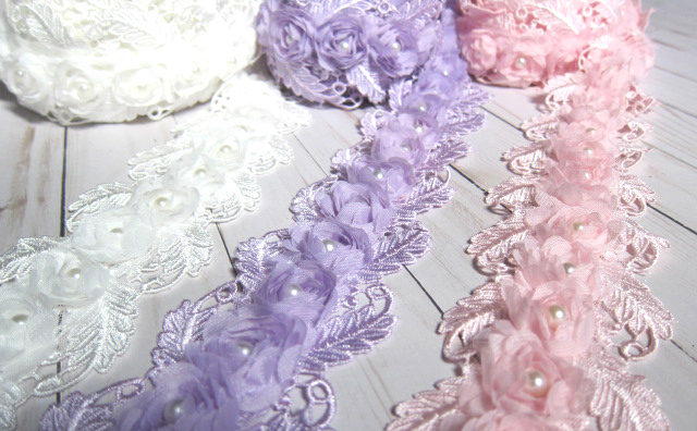 "1 yd Venice Beaded Rose Flower Embroidered Lace - 3"" White, Pink, Lavender stl"