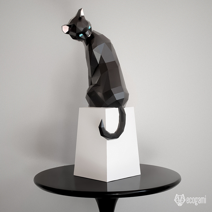 Make your own papercraft cat sculpture | 3D decorative object | DIY animal  sculpture | Printable PDF template | Grooming cat model