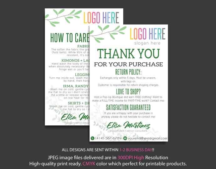 Lularoe Thank you Cards, Lularoe Care Instruction Cards, Lularoe Digital file