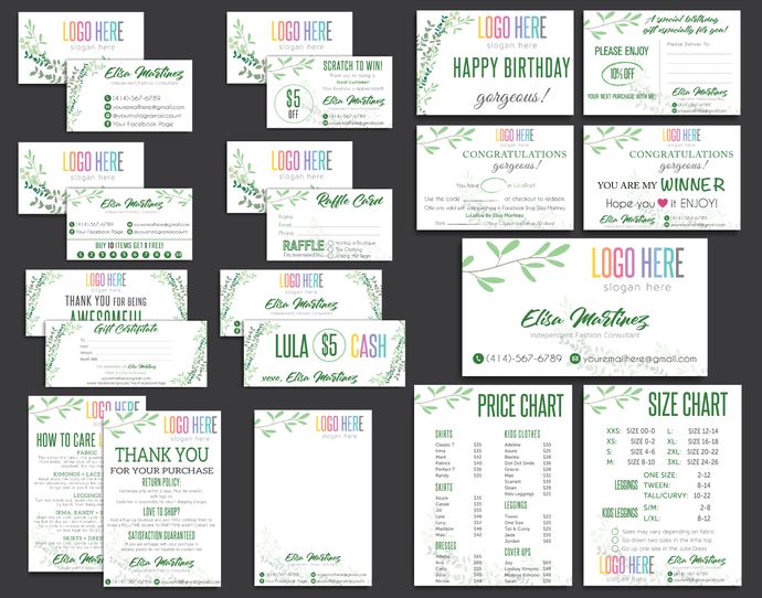 LuLaRoe Kit, PERSONALIZED Marketing Kit, Printable Business Cards, Business
