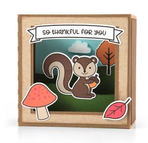 Thanksgiving / Fall Pop Up Card , Squirrel , Friend , PaperCut , Mushroom,