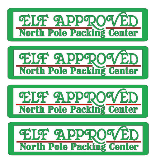 Elf approved North Pole Packing Center,  Christmas Stickers , Gifts , Holiday ,