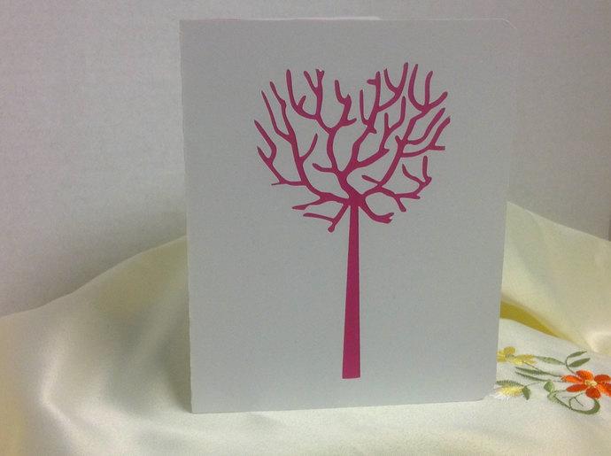 Heart Tree Valentine Day Card , blank  , spouse , men , women , hearts , red