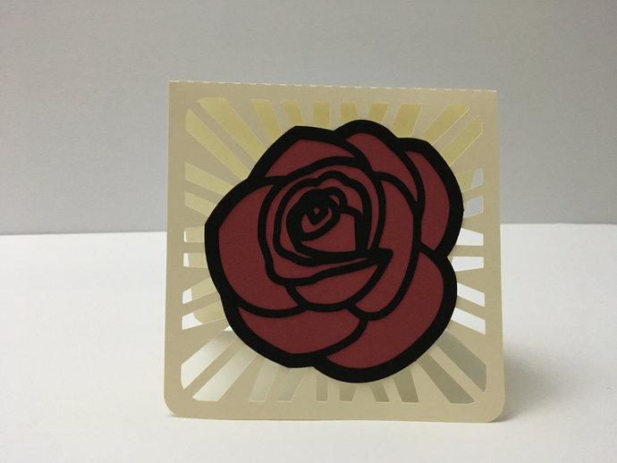 Loving Rose Blank Card , Papercut , Spring , Summer , Love , Women , Men , Loved