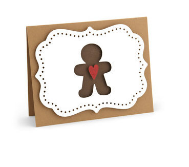 Gingerbread Man Card , Blank inside , Heart , Cookie , Festive , Tis the season
