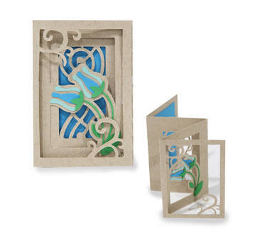 3D Fold out Accordion Card , Flowers , Blue , Friends , Family , All Occasions ,