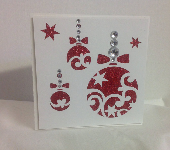 Sparkle Red Christmas Balls Card , Rhinestones , Personalize , Foil Writing ,