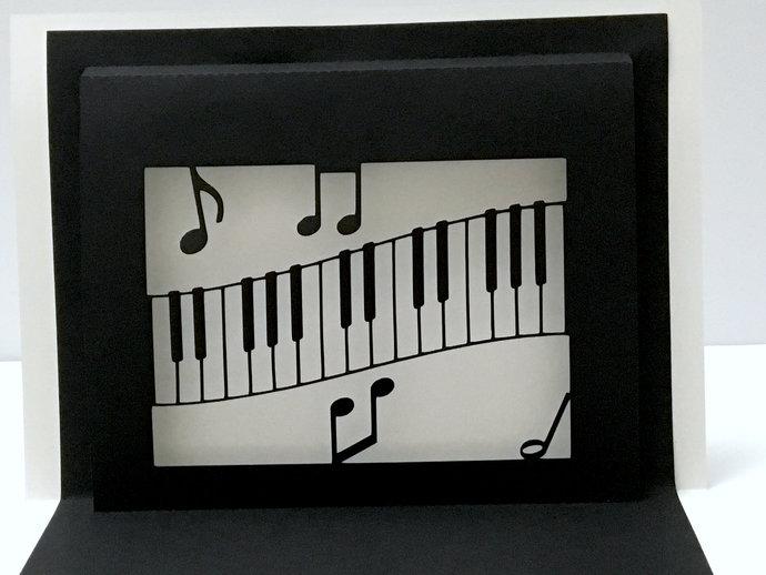 Piano Card , Blank inside , Music , Notes , Papercut , Keys , Music Teacher ,