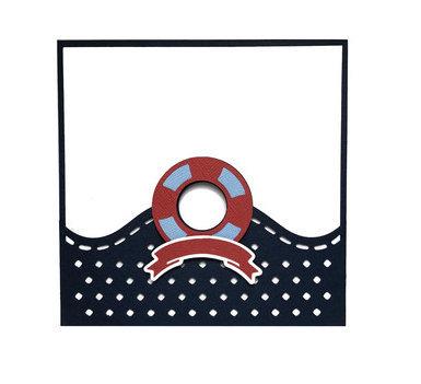 Navy Card , Blank inside , Papercut , Boat , Yacht , Sailing , Life Preserver ,
