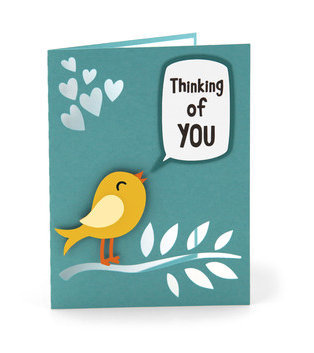 Thinking of You Blank Card , Bird , Hearts , Love , Caring , Mind , Papercut ,