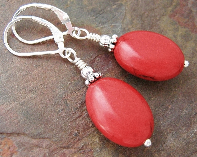 Red Howlite Turquoise Earrings w/ Sterling Silver Leverbacks, Genuine Stone