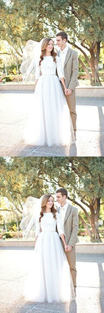 Middle Sleeve Bridal Prom Dress,Simple Lace Prom Dress,Custom Made Evening Dress