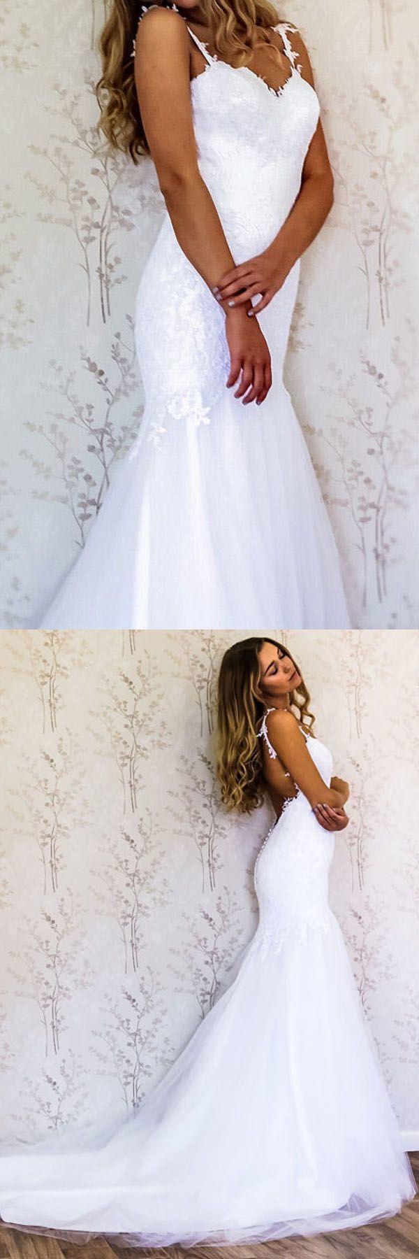 Elegant Straps Mermaid White Long Wedding Dress Bridal Gown