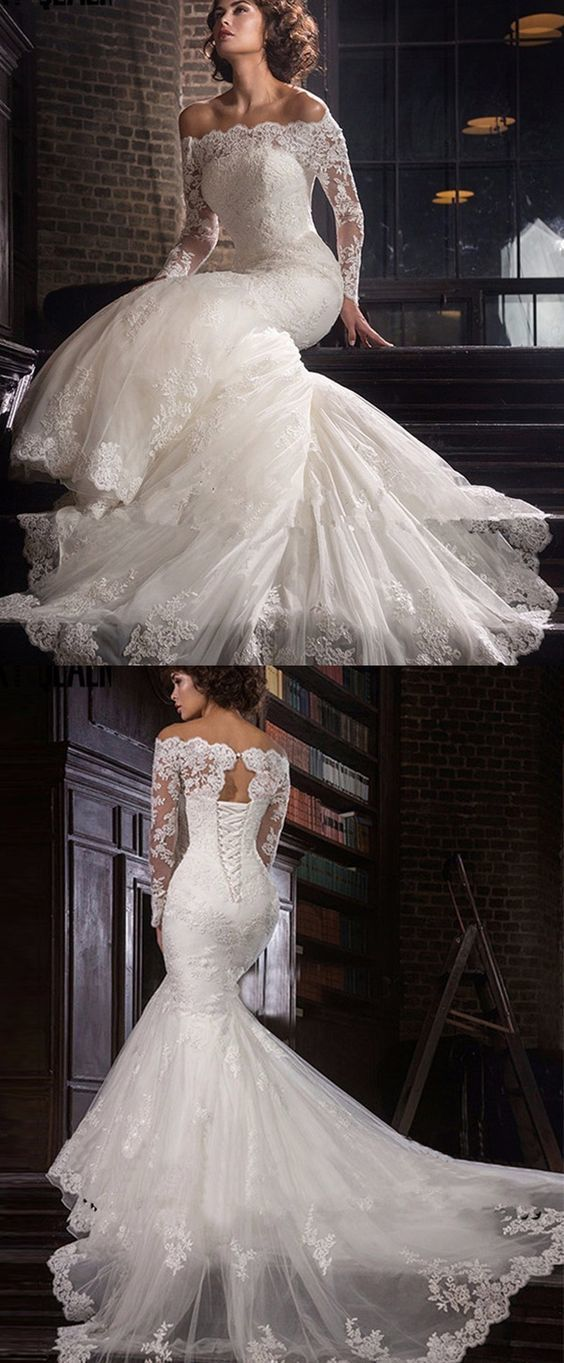 Romantic Tulle Off-the-shoulder Neckline Mermaid Wedding Dress With Beaded Lace