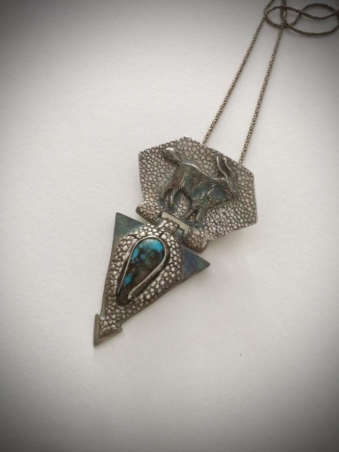 Turquoise necklace, mountain goat, goat talisman, goat totem, unique necklace,