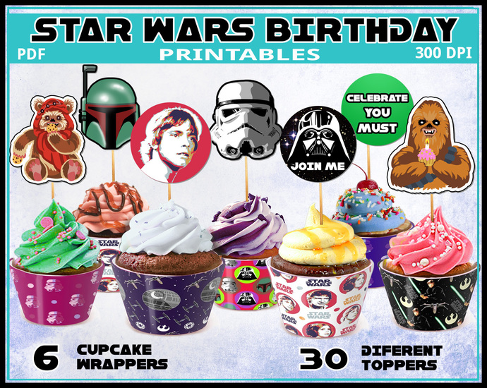 Star Wars party cupcake toppers and wrappers, party printables, star wars