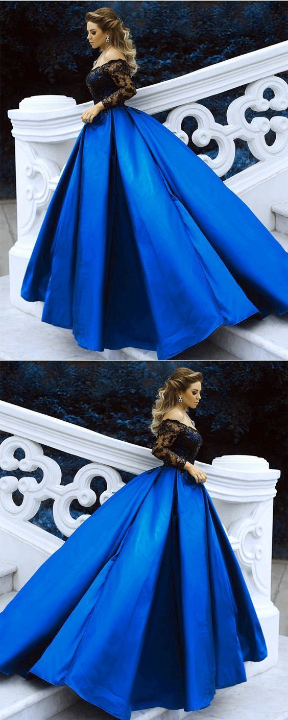 Black Lace Long Sleeves Prom Dresses Ball Gowns Off The Shoulder Evening Dresses