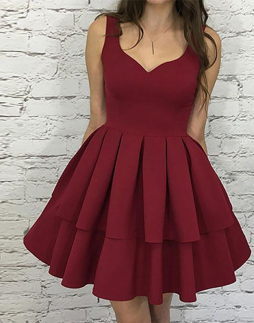 Cute A-line Short Burgundy Homecoming Dress Prom Dress