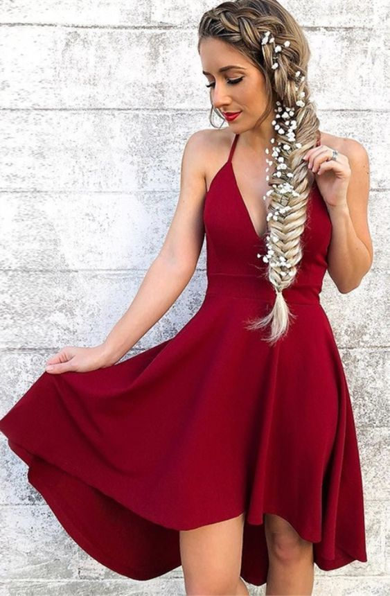 Halter Burgundy Short Party Gowns A Line High Low Homecoming Dresses Strapless ,