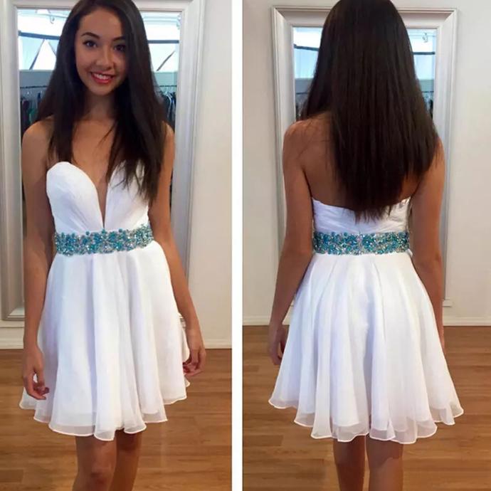 Homecoming Dress, Short Homecoming Dress, White Homecoming Dress, Sweetheart