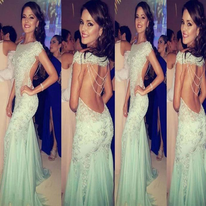 Mint Green Open Back With Sequin Floor Length Prom Dress, Sexy Mermaid Long Prom