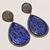 925 Sterling Silver Gemstone Lapis Lazuli white topaz  Studded Delicate Dangler