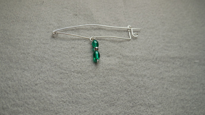 ESME - Totally handmade Fibula/Safety Pin style brooch in silver plate with bead