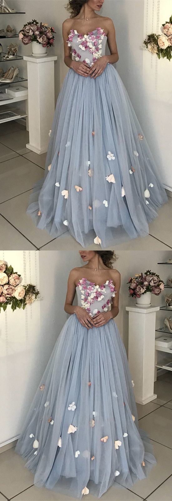 A-line Floral Flowers Sweetheart Tulle Floor Length Wedding Dress Prom Dresses