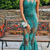 Green See Through Prom Dresses Halter Lace Appliques Mermaid Evening Gowns South
