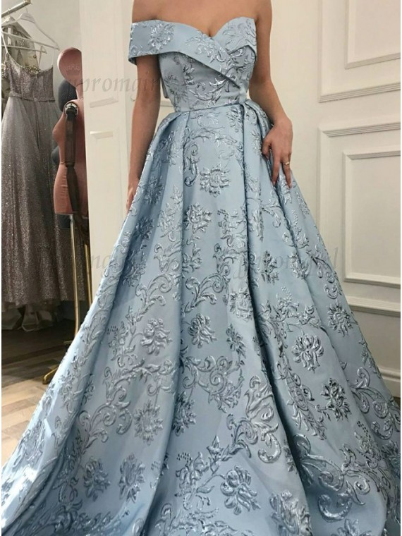 A-Line Off-the-Shoulder Sweep Train Light Blue Printed Prom Dress