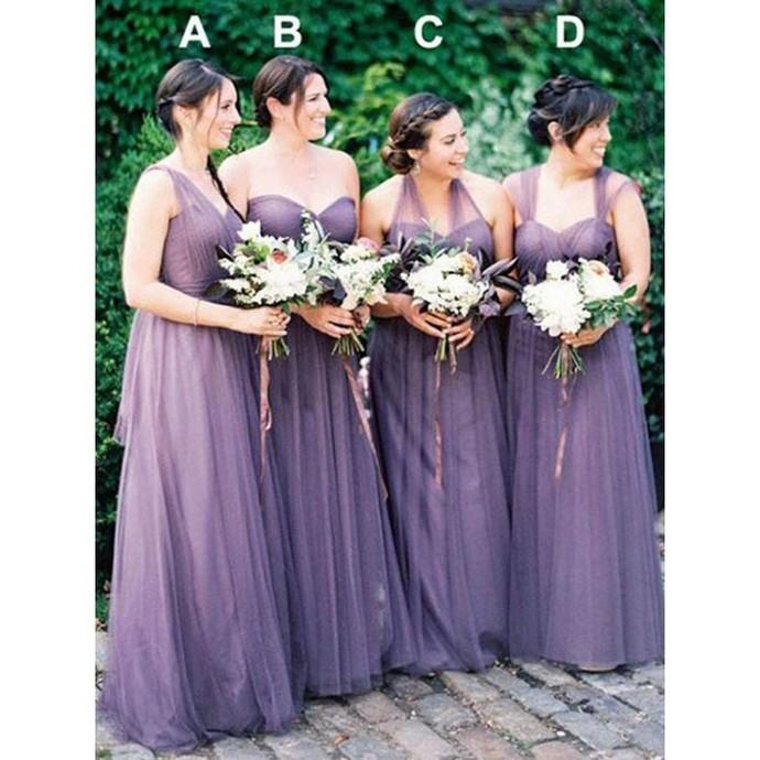 A-line One Shoulder Floor-length Sleeveless Tulle Bridesmaid Dresses
