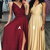 A-Line V-Neck Dark Red Prom Dresses,Long Prom Party Dress with Split,Evening