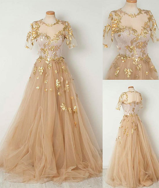 Champagne tulle long prom dress, evening dresses,short sleeves prom dresses