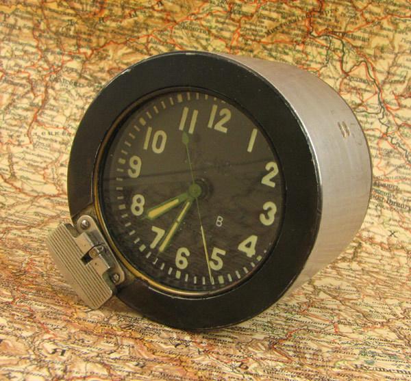 Vintage Soviet Aircraft Board Cockpit Clock 117-CHS, Tank Clock T-34, Russian