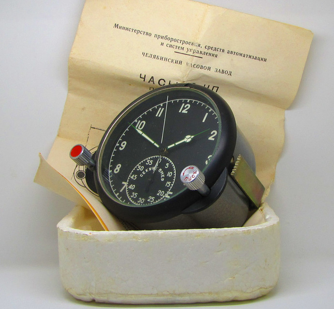 MINT Vintage Military Soviet Board Clock 60ChP Mechanical Chronograph from