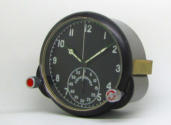 Vintage Military Soviet Board Clock 60ChP Chronograph from MIG - Su Aircraft.