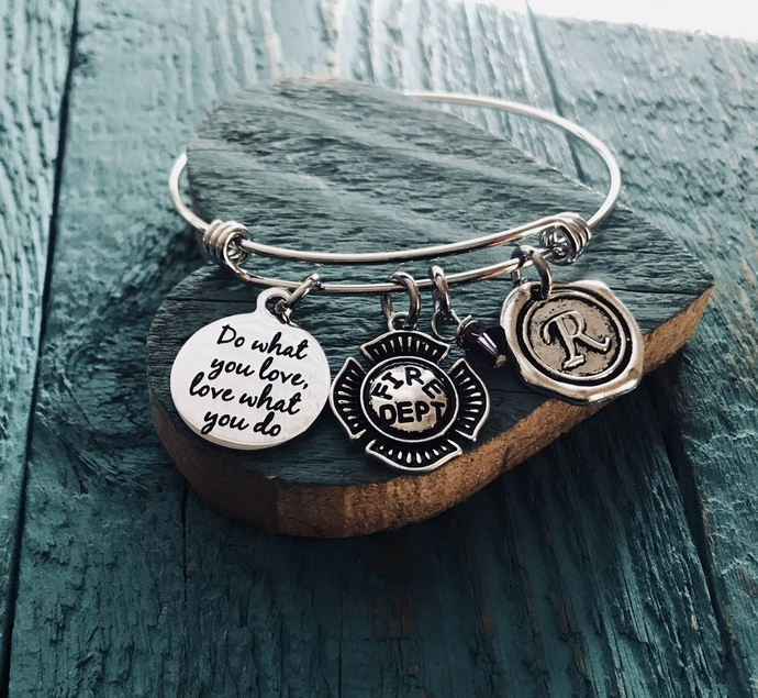 Firefighter, Fire Dept, Do what you love, love what you do, Silver Bracelet,