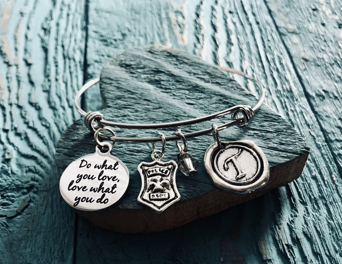 Police, Cop, Police Shield, Do what you love, love what you do, Silver Bracelet,