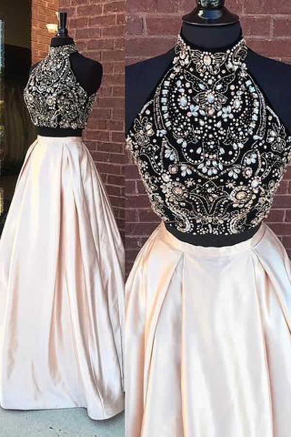 Elegant Two Pieces High Neck Beaded Cheap Long Prom Dresses