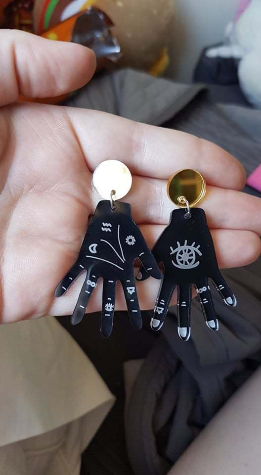Fortune Teller! - Black Hands and Gold Mirror Stud Dangle Earrings
