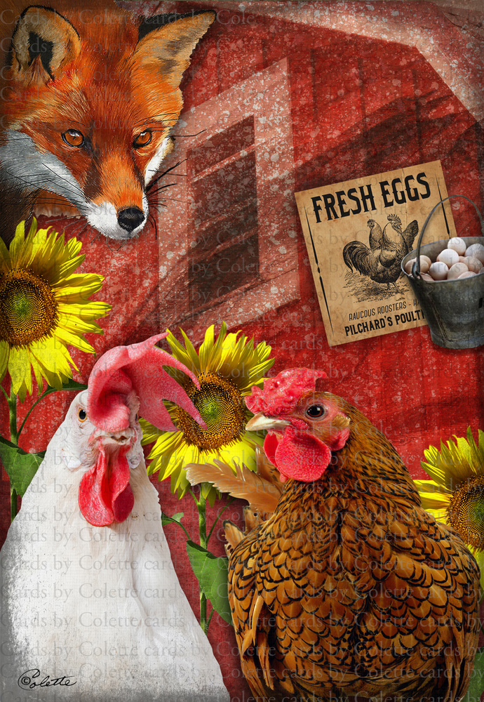 The Fox and the Chickens Digital Collage Greeting Card1258