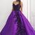 Sweetheart Ball Gown Purple Long Prom Dress with Black Appliques Dresses
