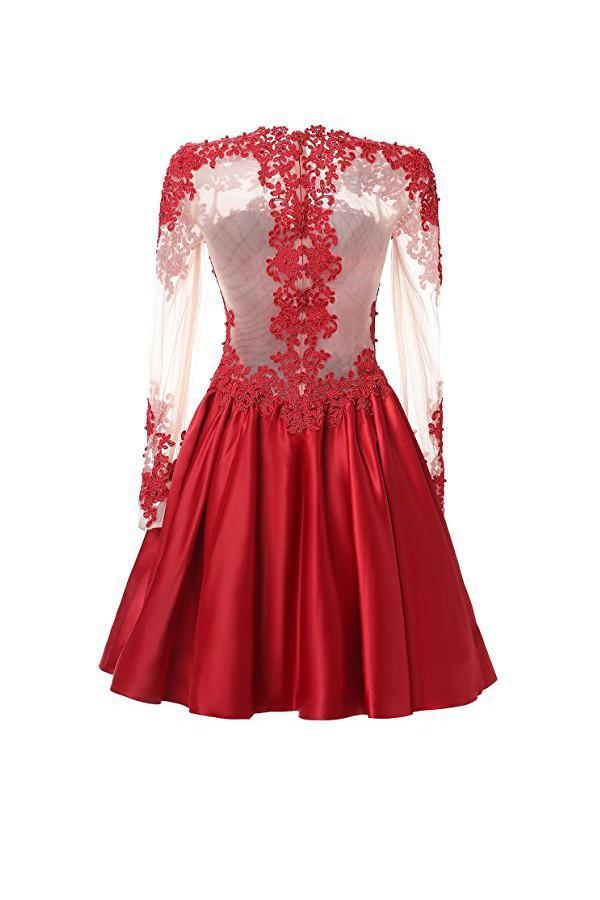 A Line Long Sleeves With Applique Homecoming Dresses
