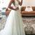 V-neck Straps Sweep-Train Sleeveless White A-line Wedding Dress
