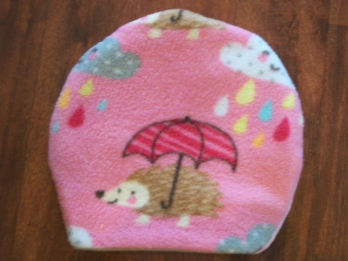 Pink Hedgehog in the Rain Round Sleeping Bags for Hedgehogs made to fit inside