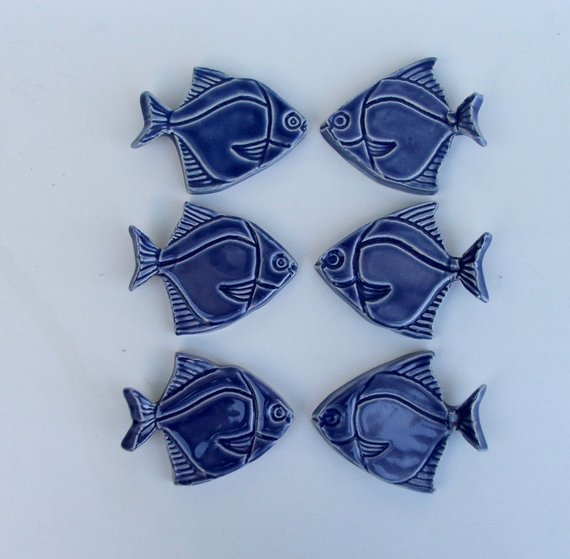 Ceramic knife rests, chopstick Rests, Hand Made Set of Six, Angelfish
