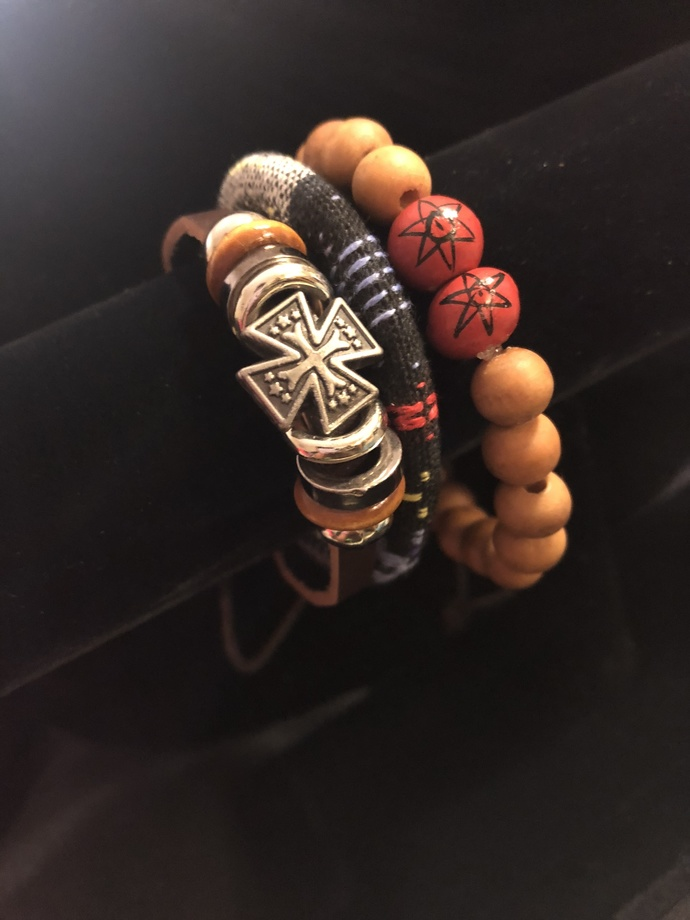 UNISEX LEATHER & BEAD BRACELET SET